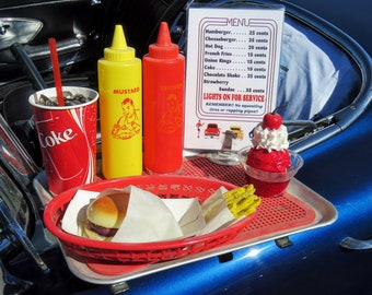 Classic, Retro, Vintage car hop window tray with food & drink items.