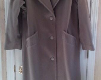 1960 Aristrocrat II Women Coat 100% Pure Wool/Taupe/Long
