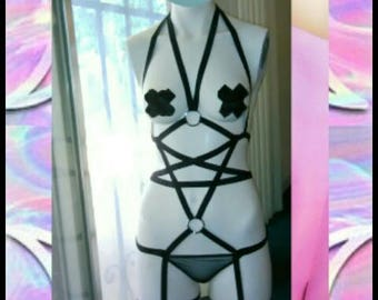 Hell Kitten Pentagram body harness.Pentagram bodysuit.Gothic,pastel goth,goth,lolita,Gothic lolita,harajuku,BDSM,Dominatrix,Burlesque
