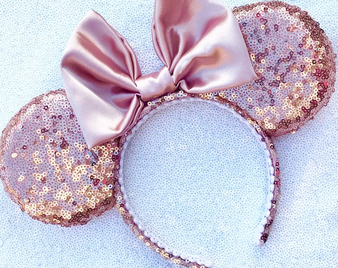 Rosegold Sequin Minnie ears Pick any color bow