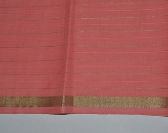 Handloom cotton fabric in Baby pink with golden thin stripes -  VMC 8