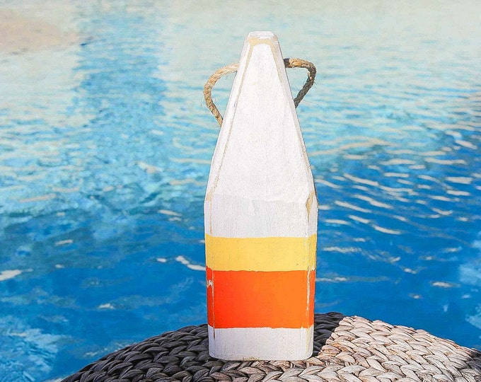 """Beach Decor, 11"""" Old-style lobster float buoy, Orange, White, Vintage Style, Nautical, by SEASTYLE"""