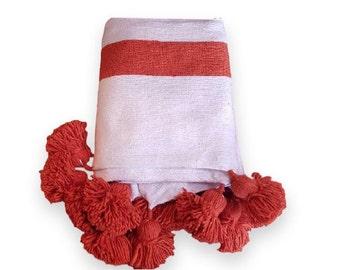 Moroccan Cotton  Pom Poms Blanket, Pom Pom cotton blanket, decorative pillows,home décor.PC09