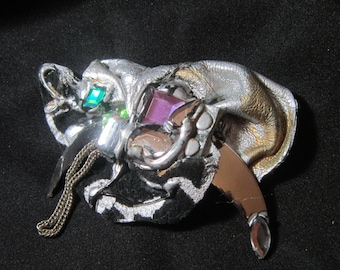 VINTAGE DESIGNER Quality Silver Leather and Rhinestone Brooch-HIGHEND Brooch-Leather Brooch-One-of-a-Kind Brooch