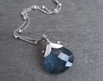 Moss aquamarine necklace, blue gemstone, sterling silver, handmade pendant, Madagascar rock, natural inclusions, March birthstone