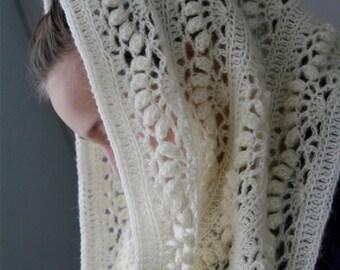 "Crochet White Mohair Oversized Cowl ""Iris"" - PDF PATTERN"