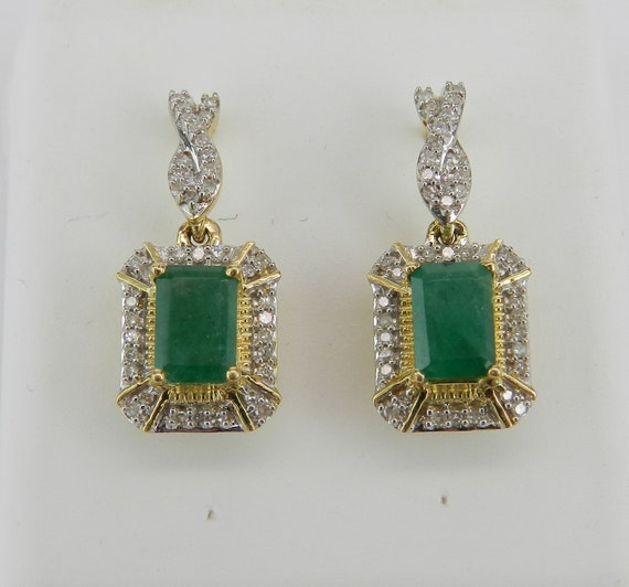 Diamond and Emerald Halo Earrings Yellow Gold Dangle Drop Green Wedding Earrings
