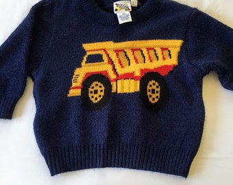 Vintage Navy Sweater with Dump Truck