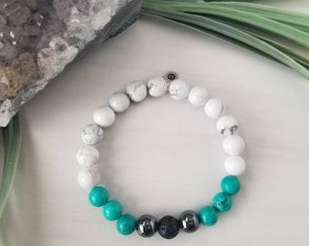 Howlite, Turquoise and Hematite Gemstone Healing Diffuser Bracelet