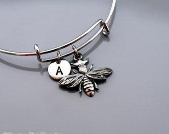 Queen Bee Bangle, Queen bee bracelet, Queen bee charm, Silver queen bee, Expandable bangle, Personalized bracelet, Initial bracelet
