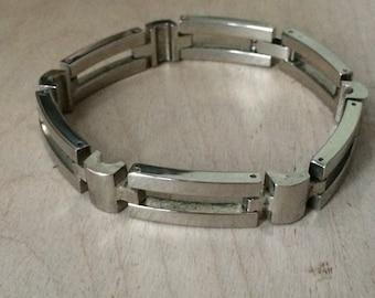 Vintge Sterling Silver .925 Modernist Link Bracelet 7.5 inches
