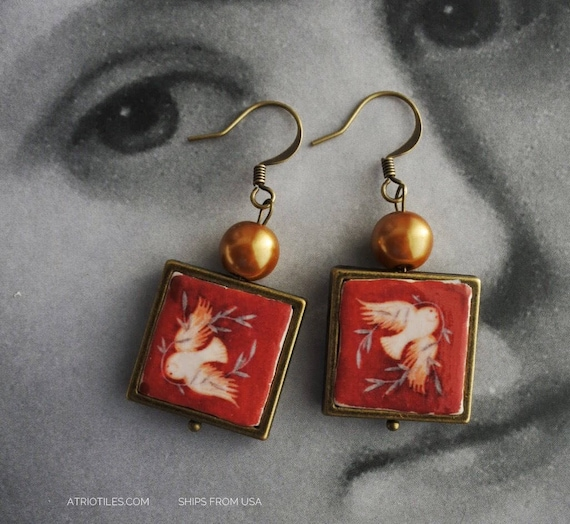 Earrings Doves Red Portugal Sintra Frescoes Antique Chapel Frescoes - National Palace Sintra  - Peace  waterproof reversible 559