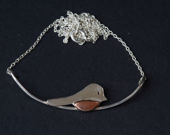 Silver and Copper Robin Necklace; handmade, mixed metal jewellery