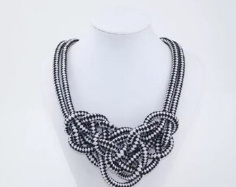 Black and White Houndstooth Nautical Knotted Rope Knot Preppy Statement Necklace