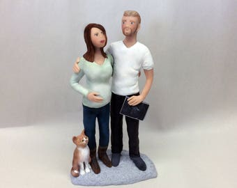 Expecting Couple with Sonograhm Sculpture or Cake Topper from your Photos and Ideas