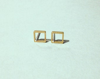Empty square studs - Small gold brass empty square studs earrings with sterling silver posts