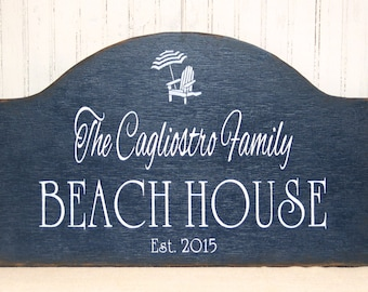 Beach House wooden sign, personalized beach sign, hand painted rustic beach house, realtor housewarming gift, Father's day gift