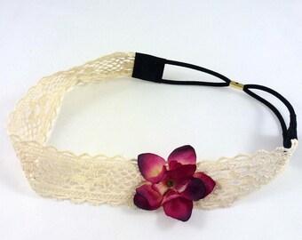 Crocheted mesh flower - red flower headband