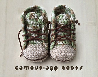 Crochet Pattern Sneakers Baby Booties Camouflage Baby Boots Baby Sneakers Crochet Patterns Baby Shoes Crochet Booties Newborn Sneakers Boots