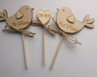 Personalised Wedding Cake Topper Personalized Bird Cake Topper Rustic Cake Topper  Unique Wedding Cake Topper Rustic Wedding
