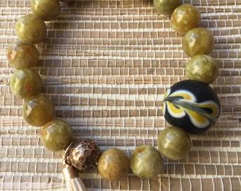 Green Serpentine Beaded Bracelet