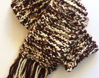 Maroon and Gold Extra Bulky Fringe Scarf