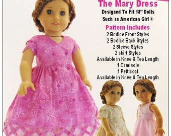 Pixie Faire Sharp Dressed Dolls The Mary Dress Doll Clothes Pattern for 18 inch American Girl Dolls - PDF