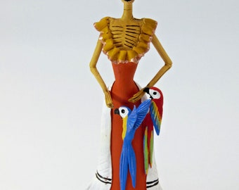 """FRIDA KAHLO CATRINA handmade clay figurine day of the dead mexican folk art 12"""""""