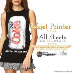 """Inkjet Iron-On Heat Transfer Paper, For Dark fabric, 8.5"""" x 11"""" Choose from 10, 25, 50, or 100 Sheets"""