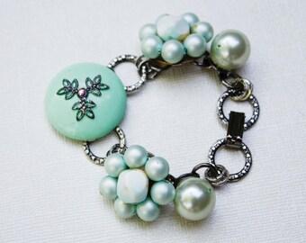 Menthe verte & Antique Vintage Bracelet en argent - fleur, perle, grande chaine texturé