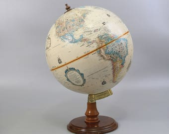 "Vintage Replogle 12"" World Classic Series Globe with Wood Stand / Made in USA / Item No. 22618"