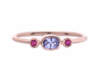 Ruby Tanzanite Ring, Ruby Ring, Tanzanite Ring, Stacking Ring, Ruby Stacking Ring, Mothers Ring, Three Stone Ring, Rose Gold Ruby Ring,