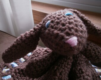 Bunny Lovey, newborn photo prop, baby shower gift, birthday present, Ready to ship, rabbit blanket, security blanket, crochet brown bunny