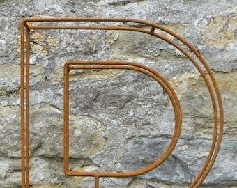 "Large letter D / Metal / Letter / Free-Standing / Industrial / Vintage / Rustic / Floral / Gift / Wedding / Home / 45cm / 17.5"""