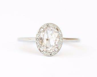 Rosecut Oval White Zircon Ring in Platinum Diamond Halo - Rosecut Diamond-like - Platinum engagement ring by Anueva Jewelry