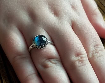 Simple Promise Ring, Sterling Silver Labradorite Purity Ring Engagement Ring