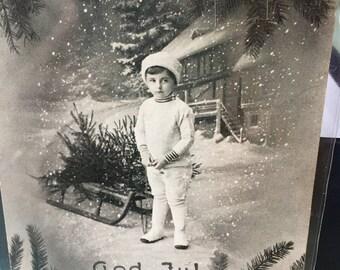 Swedish Postcard, God Jul, Vintage, Christmas, Holiday, Retro, Paper Ephemera, Antique Discoveries