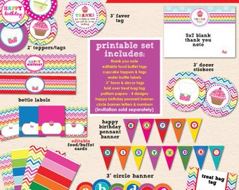 Rainbow Chevron Baking Birthday Party - DIY/Printable Complete Party Pack - INSTANT DOWNLOAD!