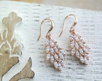 Crystal  Earrings Crystal Wedding Jewelry Cubic Zirconia Bridesmaid Earring Bridal Accessories Art Deco Earrings Teardrop Earrings Rose gold