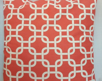 "Coral lattice ""gotcha"" geometric accent pillow cover with zipper, 18x18."""