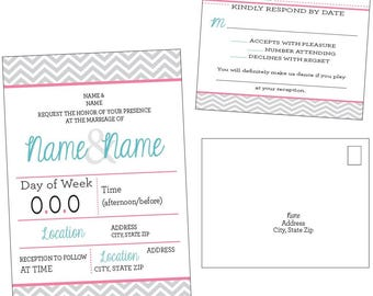 Customizable Contemporary Chevron Wedding Invitation & RSVP Post Card [Digital File ONLY]