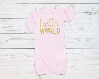 Hello World, Going Home Outfit, Newborn Outfit, Baby Shower Gift, Coming Home Outfit, Baby Gown, Baby Gift, Baby Girl