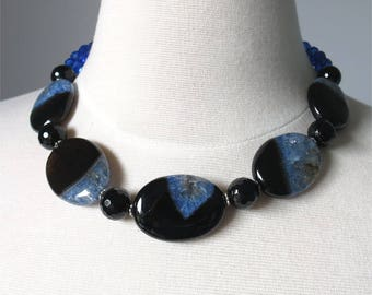 SALE. Blue and black agate short bold statement necklace. HALF PRICE Take 50% off.
