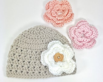 crochet baby hat, baby girl hat, beanie hat, 6- 9 month baby girl hat, hat with flowers