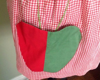Vintage red and white gingham apron.....apple motif....half size