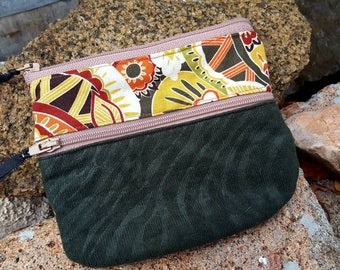 Green Paisley Cosmetic Bag, Zippered Pouch, Coin Purse, Ear Bud Pouch, credit card pouch