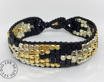 Black Gold Silver Bracelet, Stackable bracelets, Dainty Beaded Bracelet, Festival Bracelet, Gift Ideas, Boho Jewelry, Everyday Bracelet