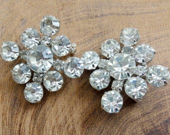 Vintage Clear Rhinestone 1940s Diamond Shaped Pair of Brooches