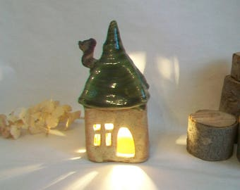 Fairy House/ Night Light/Garden House - Squared Up  --  with a Green Roof -- 1 House - Ready to Ship
