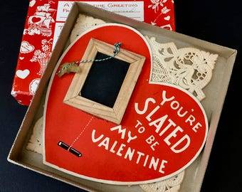 Darling Vintage Boxed Valentine Card from Teacher to Her Student